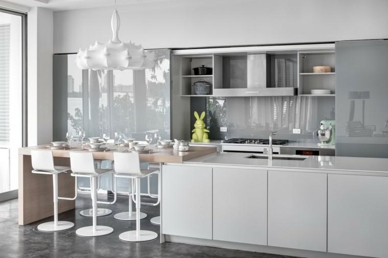 cocina blanco gris amplia preciosa ideas