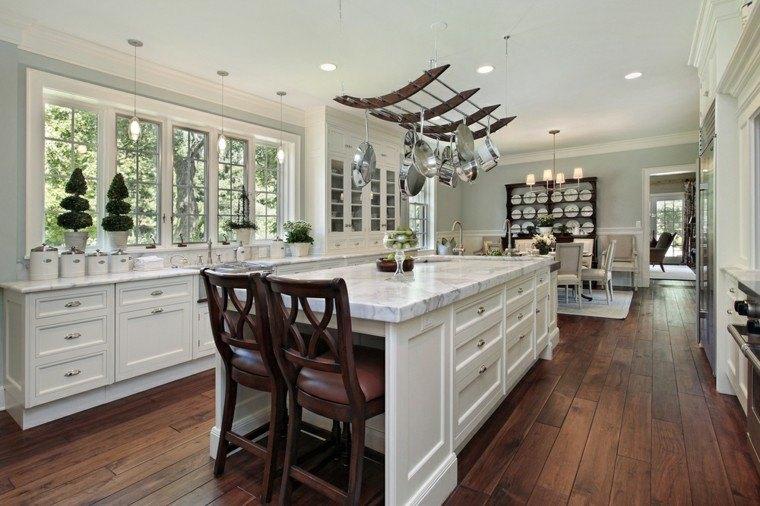 cocina diseño moderno isla platos decorando pared ideas