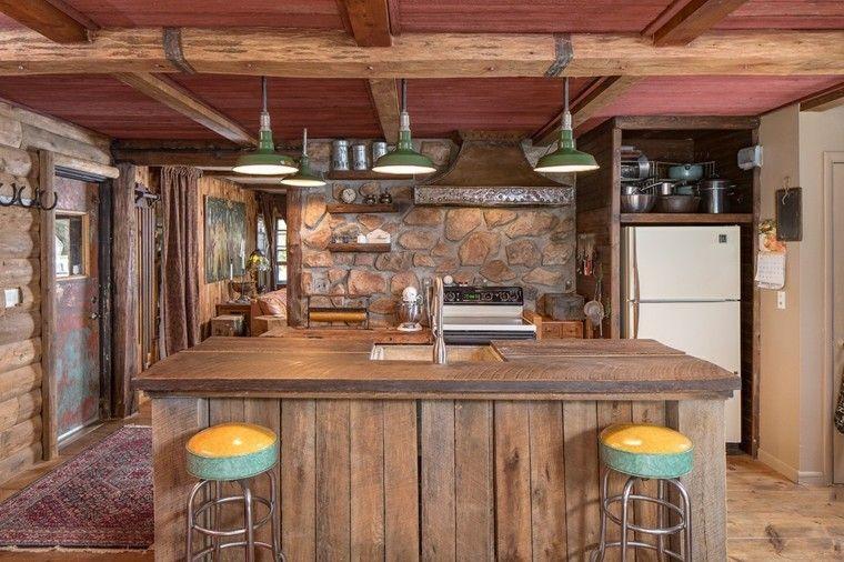 cocina diseño moderno madera piedras rustica ideas