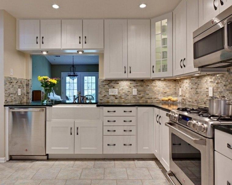cocinas diseno moderno mosaico pared precioso ideas