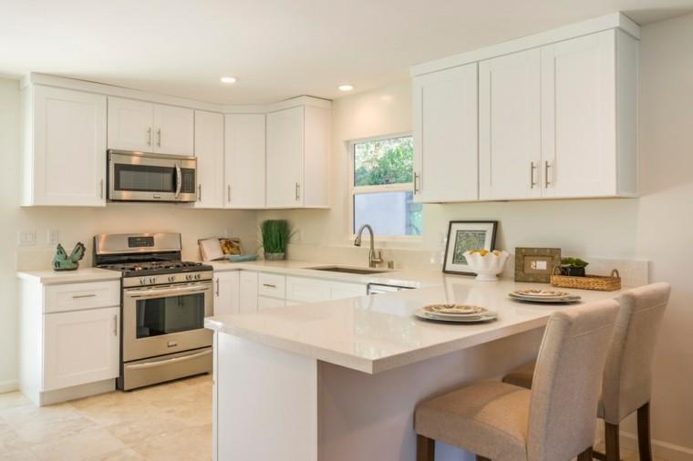 cocinas diseno moderno simple muebles blancos ideas