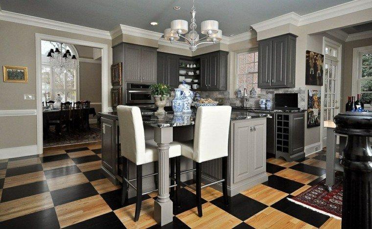 cocinas diseno moderno suelo losas ajedrez sillas blancas ideas