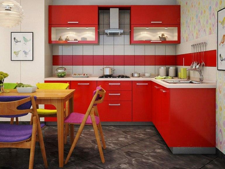 Muebles Cocina Color Rojo : Cocinas peque?as en forma de l cincuenta dise?os