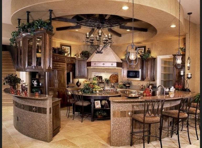 cocina grande forma redonda rustica
