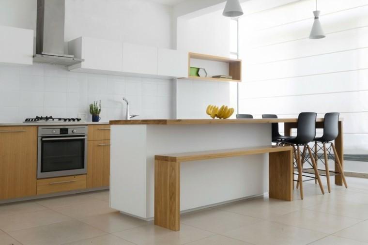 cocina isla banco madera losas blancas ideas