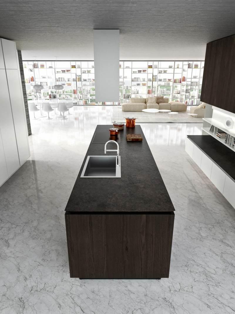 cocina moderna isla color marrón
