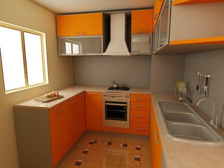 cocina pequeña muebles color naranja