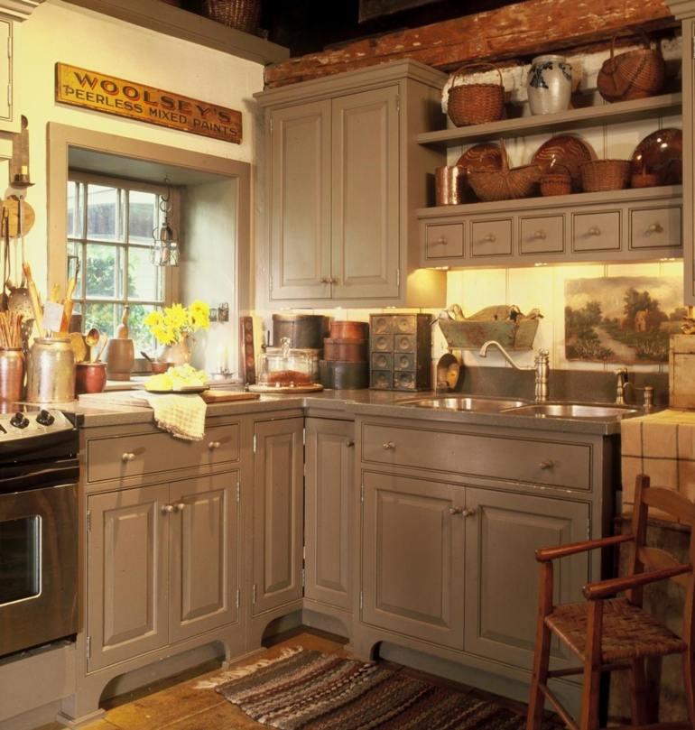 Decoración de cocinas rústicas pequeña diseño rustico gris