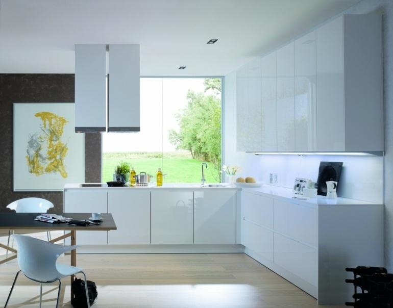 diseño cocina minimalista blanca