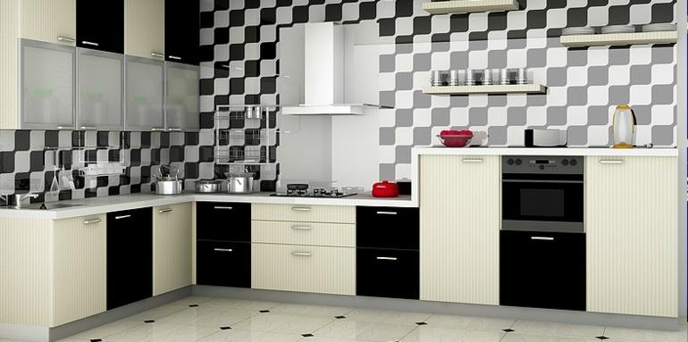 diseño cocina blanco negro
