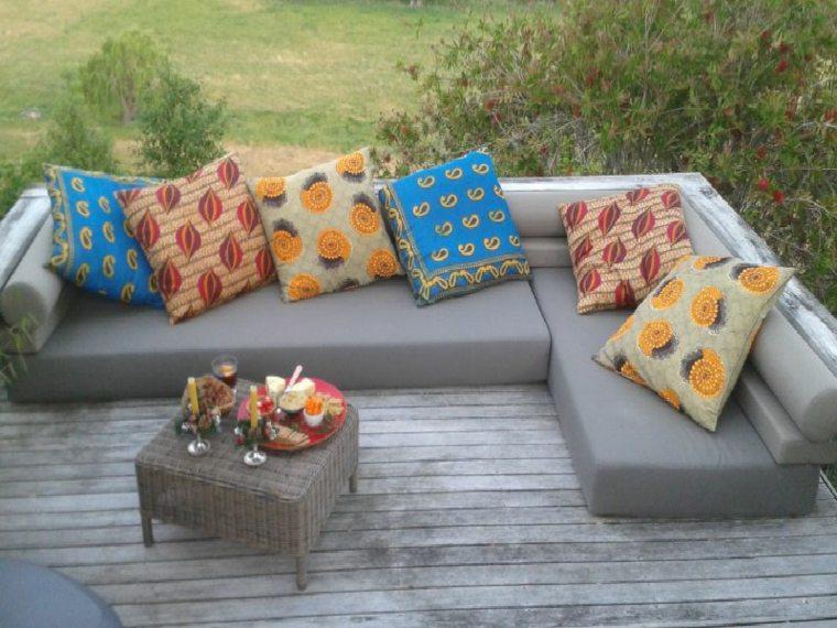 cojines deco jardin diseño colores