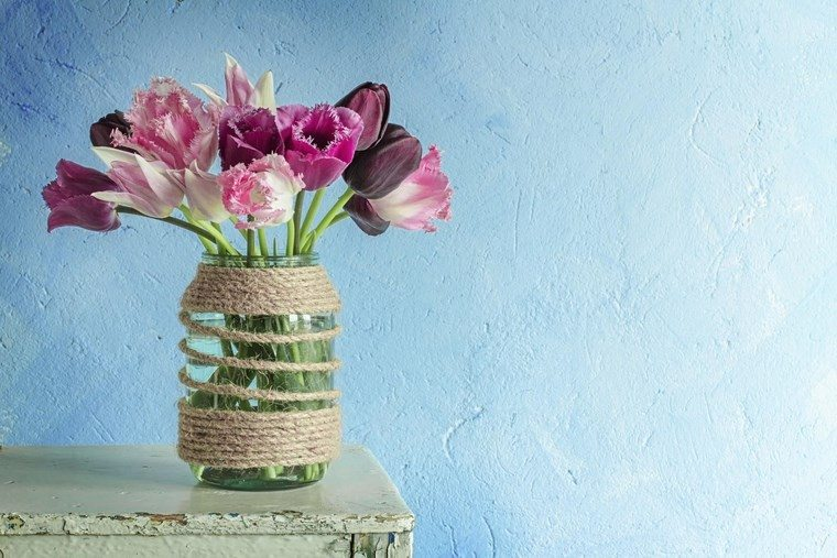tarro cristal hilo decorar casa tulipanes