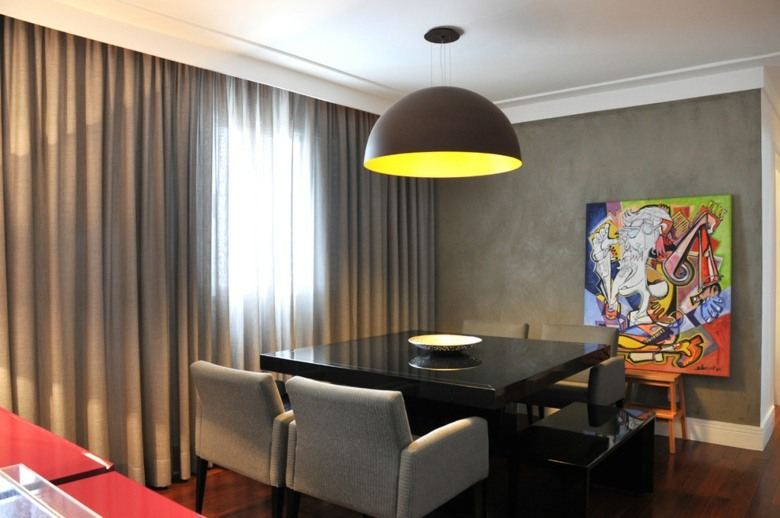 comedor moderno cortinas grises lisas