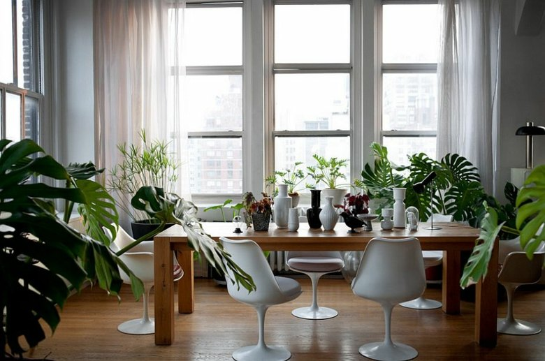 comedor diseño moderno cortinas blancas