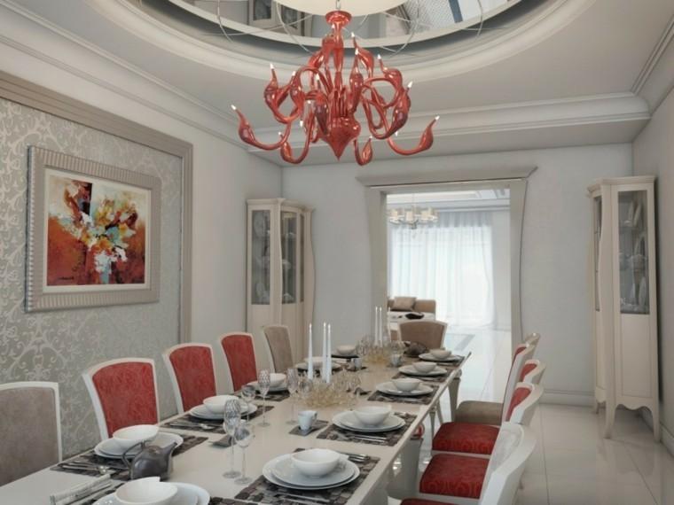 comedores de diseño lampara roja preciosa ideas