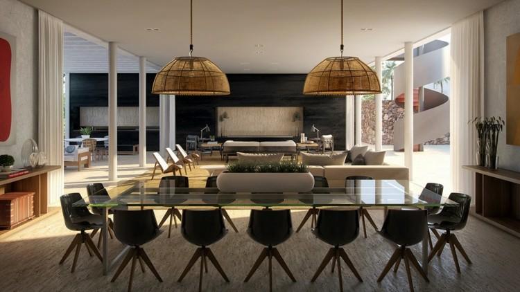 comedores modernos alfombras negro lamparas