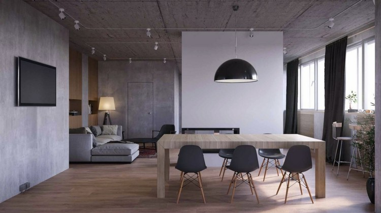 comedores modernos paredes hormigon maderas