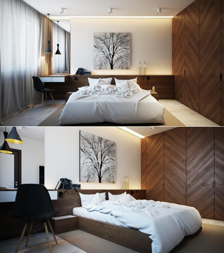 como decorar tu habitacion marrones arboles