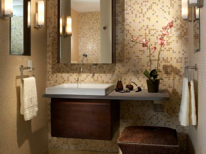 como decorar un baño pequeño y sencillo flores macetas