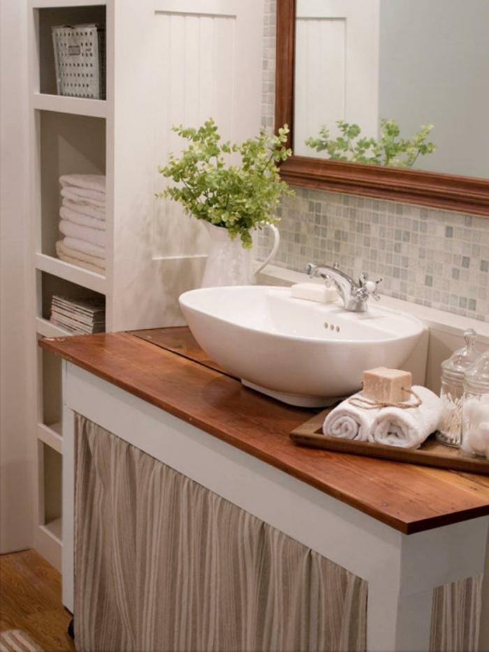como decorar un baño pequeño y sencillo plantas madera