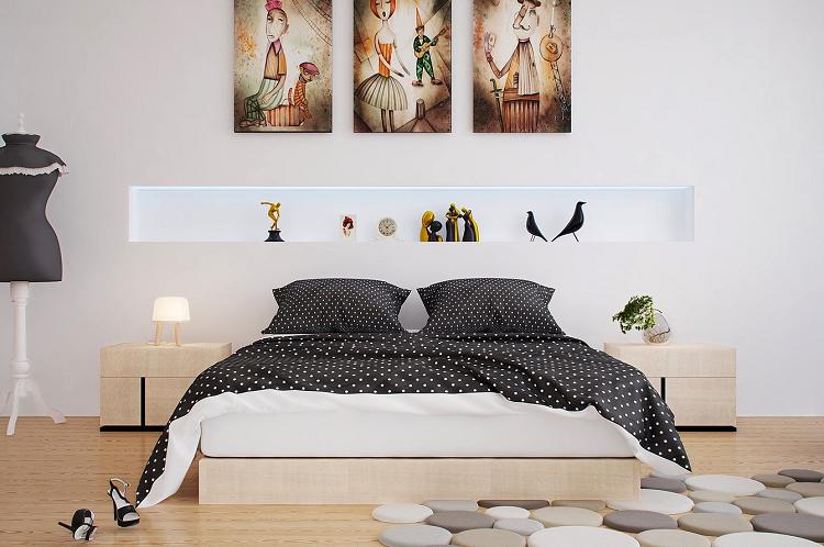 como decorar un dormitorio lunares sendero cuadros