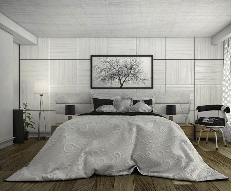 como decorar un dormitorio ramas cuadros suelos