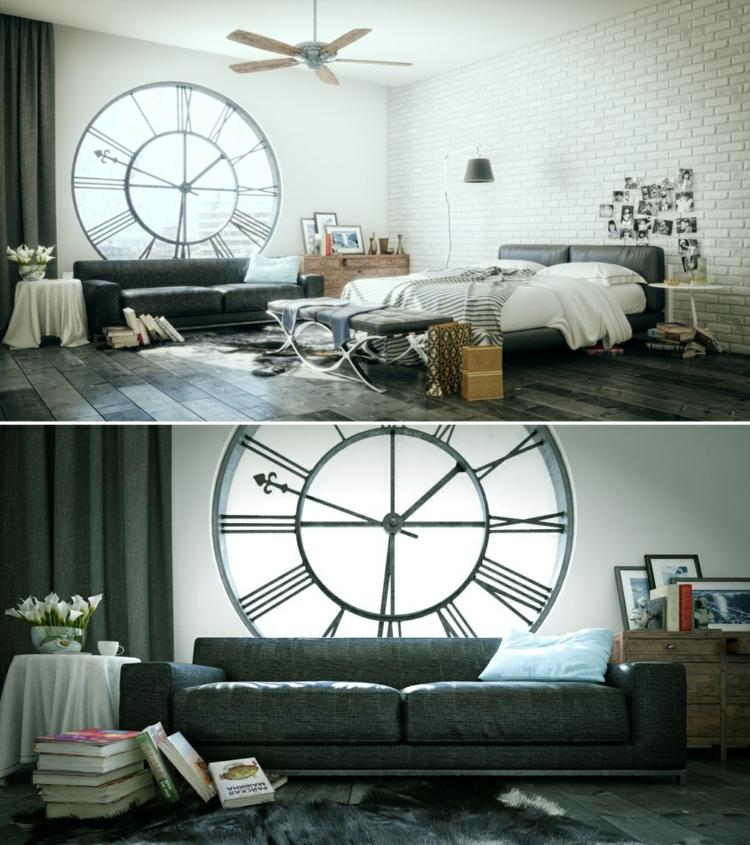 como decorar un dormitorio reloj cuadros ventiladores