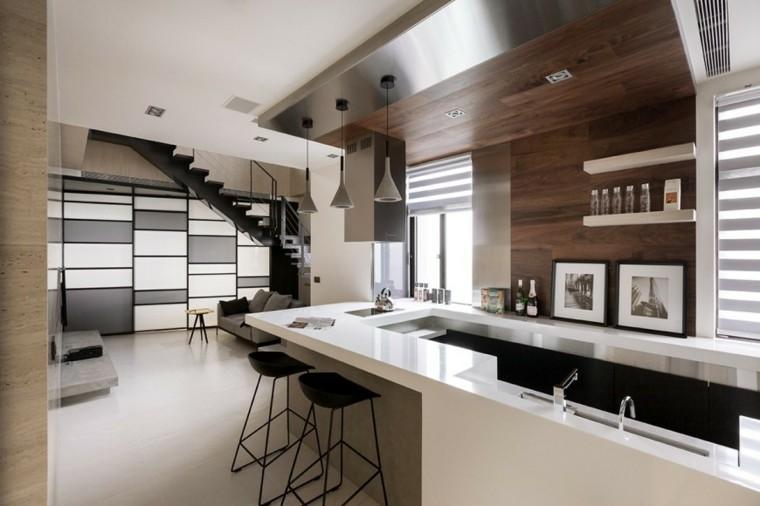 como decorar una cocina barra blanca ideas