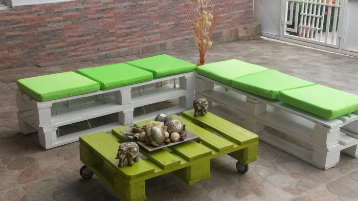 mueblñes bancos terraza pallet