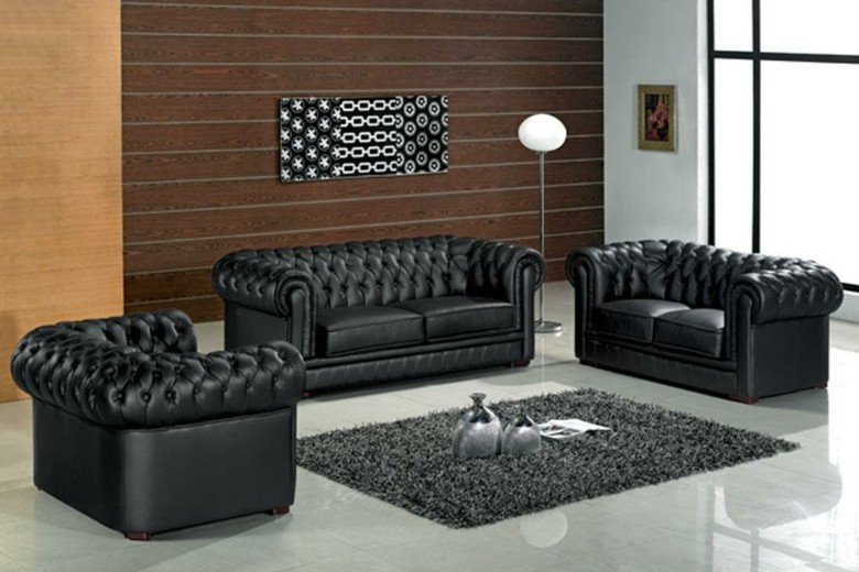 conjunto sofas Chester color negro