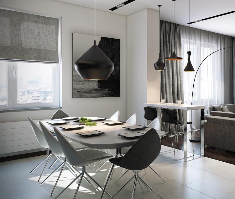 contemporaneo modernos ventanas grises cortinas