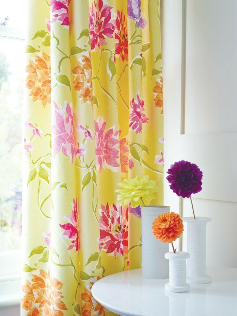 Cortinas de la cocina de color amarillo y gris - Cortinas Amarillas Estampados Florales