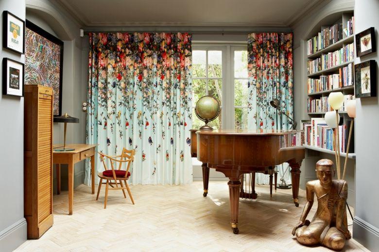 cortinas de sala y comedor estampados florales