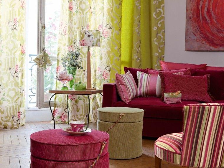 cortinas de salon opciones diseno estampa flores ideas