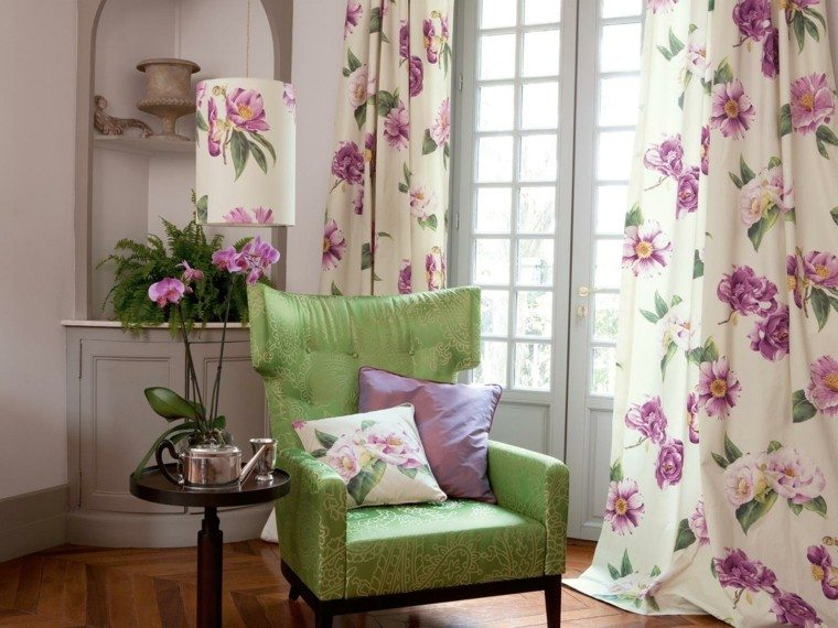 cortinas salon opciones diseno sillon verde llamatvo ideas