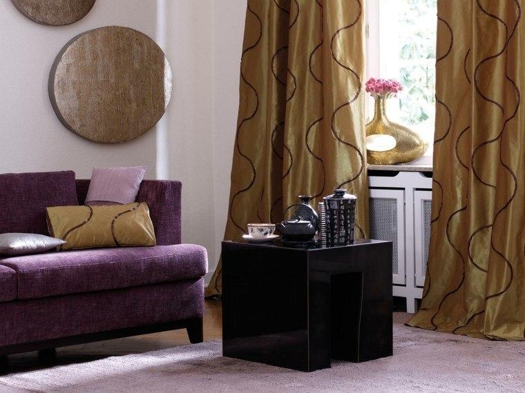 cortinas salon opciones diseno sofa purpura ideas