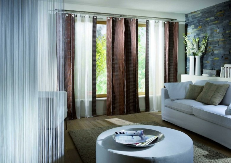 cortinas salon diseo moderno marrones