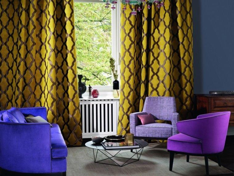 cortinas salon opciones diseno amarillo vibrante ideas