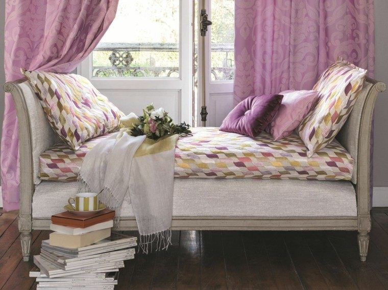 cortinas salon opciones diseno color rosa ideas