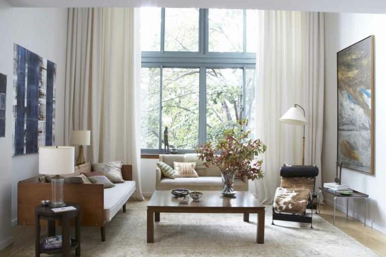cortinas salon opciones diseno largas blancas ideas
