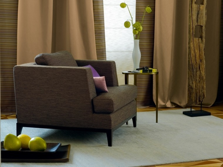 cortinas salon opciones diseno sillon marron ideas