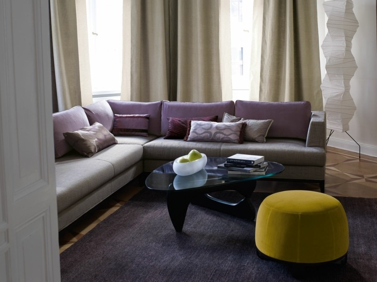 cortinas salon opciones diseno taburete amarillo ideas