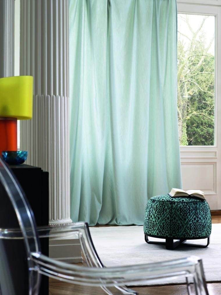 cortinas salon opciones diseno verde claro ideas