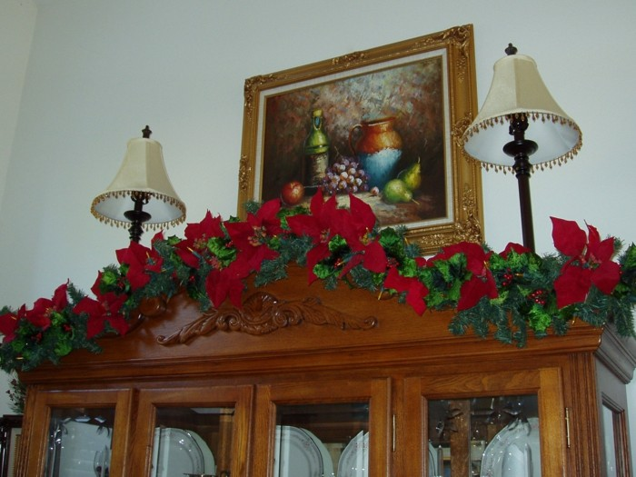 cristales navidad detalles lazos flores cuadro