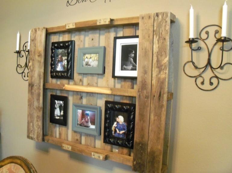 cuadro madera estantes palet pared
