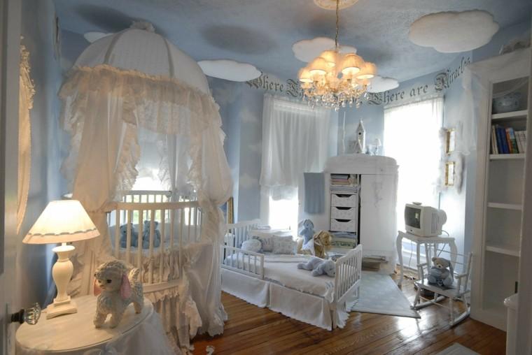 cuarto bebe celeste estilo romantico