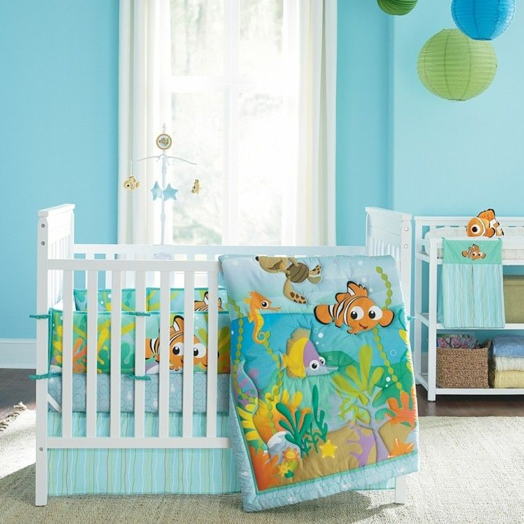 Cuartos de bebe treinta y ocho dise os encantadores for Dormitorios verde agua