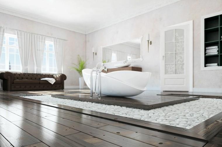 Baños modernos con bañera - cincuenta diseños