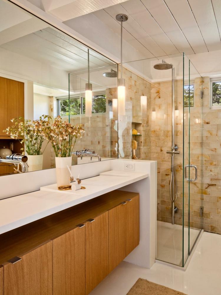 cuartos de baño modernos bambu muebles flores