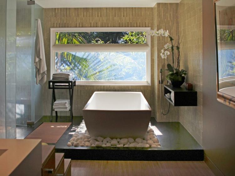 cuartos de baño modernos rocas paredes blanco